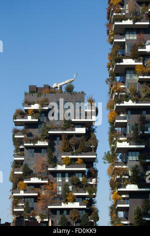 Bosco Verticale (Vertical Forest) residential towers in the Porta Nuova district in Milan, Lombardy, Italy. - Stock Photo
