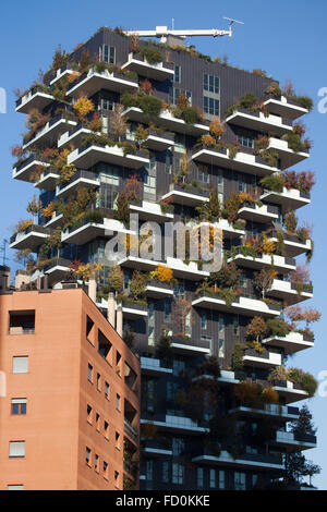 Bosco Verticale (Vertical Forest) residential tower in the Porta Nuova district in Milan, Lombardy, Italy. - Stock Photo