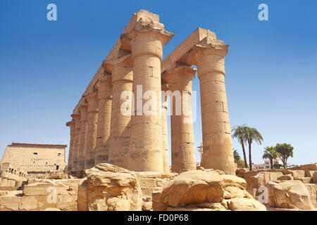 Ancient column in Luxor Temple, Luxor, Egypt - Stock Photo
