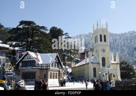 Christ Church at the Ridge in winter, Shimla, Himachal Pradesh, India - Stock Photo