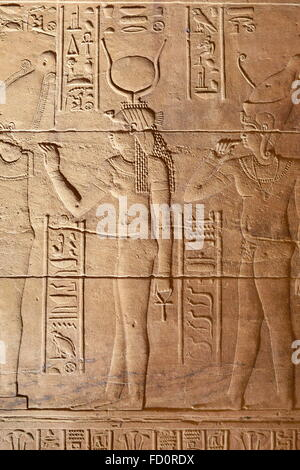 Egypt -  The Temple of Isis at Philae Island, hieroglyphcs and bas-relief of the goddess Isis inside temple, UNESCO - Stock Photo