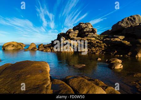 France,Brittany,Cotes d'Armor, the Pink granit coastline  at Ploumanach, commune of Perros Guirec - Stock Photo