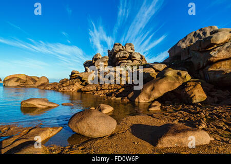 France,Brittany,Cotes d'Armor, the Pink grani coastline  at Ploumanach, commune of Perros Guirec - Stock Photo