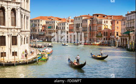 Venice from the Rialto Bridge with the view on the Grand Canal, Venice, Veneto, Italy, UNESCO - Stock Photo