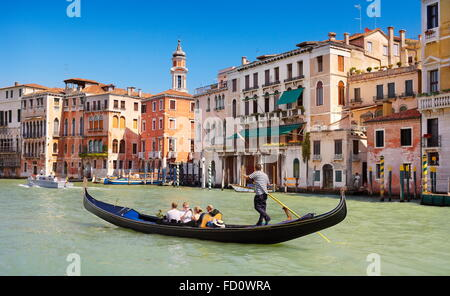 Gondola on the Grand Canal, Venice, Veneto, Italy, UNESCO - Stock Photo
