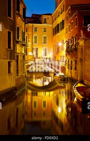 Venice at night, Veneto, Unesco, Italy - Stock Photo