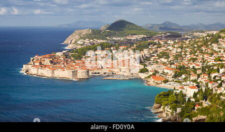 Dubrovnik, Old Town, aerial view from the hill, Croatia - Stock Photo