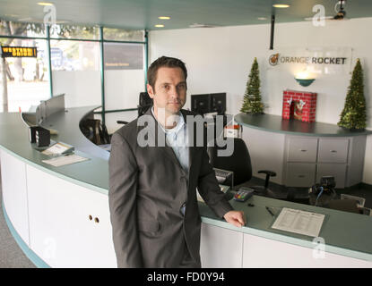 Los Angeles, California, USA. 7th Dec, 2015. William Lucking, owner of payday lender Orange Rocket Cash in Long - Stock Photo