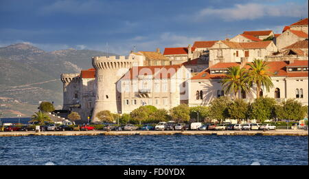 Korcula, Old Town at the seafront, Croatia - Stock Photo