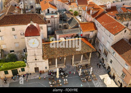 Trogir Croatia, Old Town square in Trogir - Stock Photo