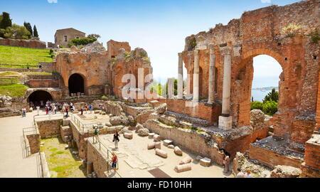 The Greek theatre in Taormina, Sicily, Italy - Stock Photo