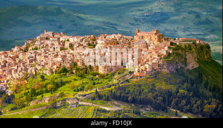 Sicily Island - aerial view from Enna to Calascibetta, Italy - Stock Photo