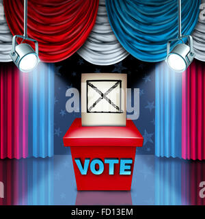 American Ballot box election concept with red white and blue United States flag color curtains as a metaphor for - Stock Photo