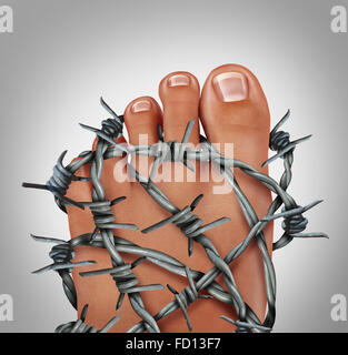 Foot pain podiatry medical concept as a symbol for painful inflammation or toe injury as a group of sharp barb wire - Stock Photo