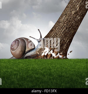 Strength concept as a snail pushing down a large tree trunk as a business success metaphor for the power of motivation - Stock Photo