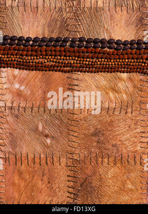 Various kinds of beads, dedicated to different gods, on a background of leaves