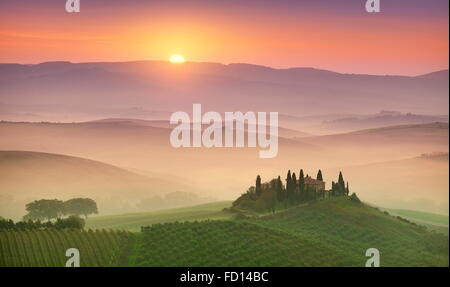 Tuscany landscape at sunrise, Val d'orcia, Italy - Stock Photo