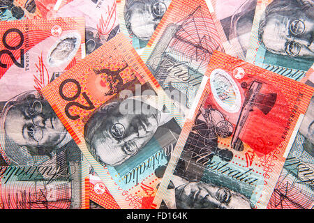 Australian twenty dollar notes ($20 AUD) - Stock Photo