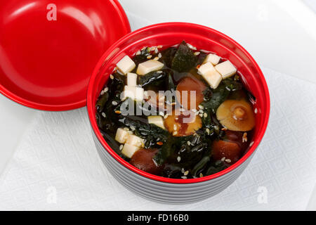 Mushroom soup with potatoes and rice in a bright red cup - Stock Photo