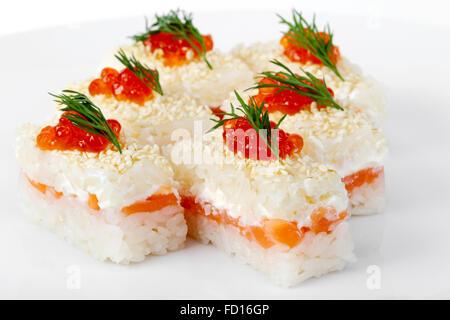 Maki Sushi with Salmon, red caviar. Selective focus - Stock Photo