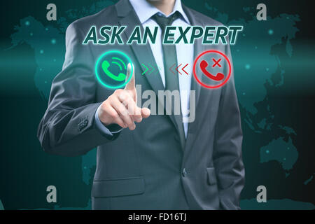 Businessman pressing button on touch screen interface and select Ask an expert. Business concept. telephone call - Stock Photo