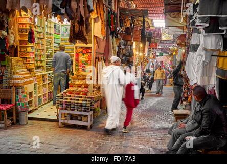 Marrakech Medina, local souk, Morocco, Africa - Stock Photo