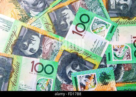 Currecny - Australian one hundred dollar notes ($100) - Stock Photo