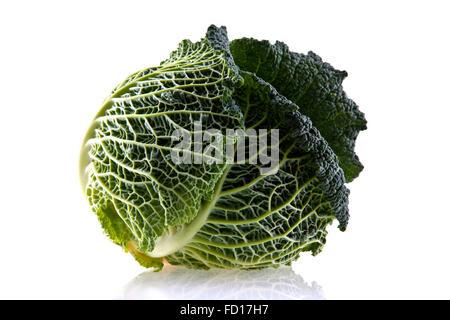 Fresh organic cabbage isolated on white - Stock Photo