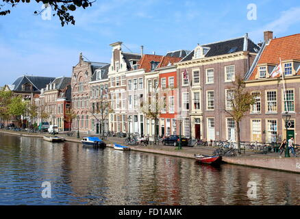 Old mansions along Medieval Oude Singel / Oude Vest canal in the historical centre of Leiden, The Netherlands - Stock Photo