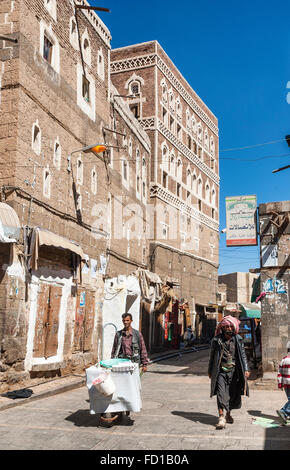 street of sanaa city old town in yemen - Stock Photo