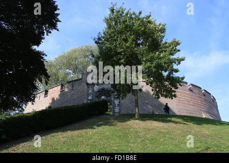 Burcht Hill, a medieval 11th century stronghold in the old city centre of Leiden, The Netherlands - Stock Photo