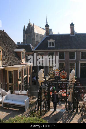 Entrance gate to Burcht Hill, a medieval 11th century stronghold in the old city centre of Leiden, The Netherlands - Stock Photo