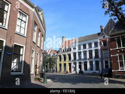 Scenic Pieterskerkhof square,  near the  15th century Pieterskerk, the Late-Gothic main church in Leiden, The Netherlands - Stock Photo