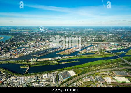 Location Logistics Duisport, Duisburg harbor, container port, Ruhr and Rhine-Herne Canal, inland water transport, - Stock Photo