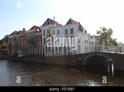 Historic old mansions along Rapenburg main canal in Leiden, The Netherlands, - Stock Photo