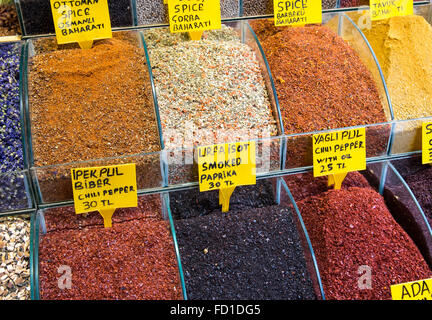 Pepper and other spices at the famous Spice Market in Istanbul - Stock Photo