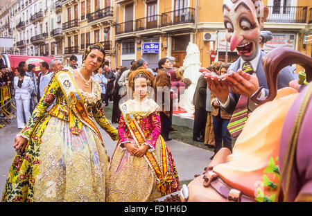 ninot and Fallera in Las Fallas Fiesta, Dia de San Jose, Denia Stock Photo, R...