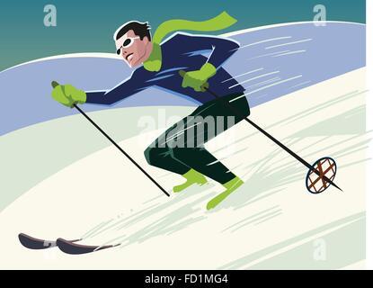 mountain skier slides from the mountain. Vector illustration - Stock Photo