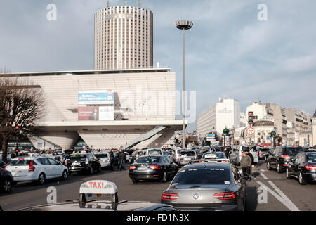 Paris, France. 26th Jan, 2016. Taxi drivers took over few places in Paris and blocked them from any trafic. They - Stock Photo
