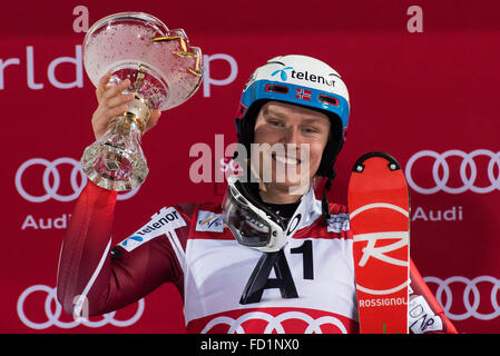 Schladming, Austria. 26th Jan, 2016. Henrik Kristoffersen from Norway on podium celebrating his first place at the - Stock Photo