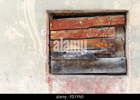 Window culled old wooden board on the wall with scratches and cracks. Great background or texture for your project. - Stock Photo