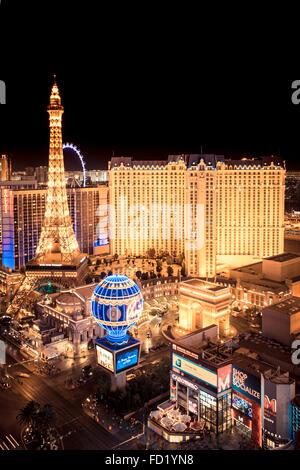 Golden Night scene across hotel and casinos in Las Vegas - Stock Photo