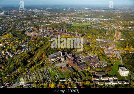 View of city and Zollverein Coal Mine Industrial Complex, autumn, Essen, Ruhr district, North Rhine-Westphalia, - Stock Photo