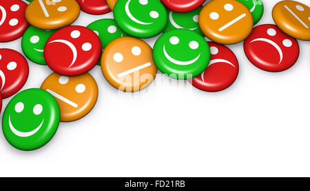 Business quality service customer feedback, rating and survey with happy and not smiling face emoticon symbol and - Stock Photo