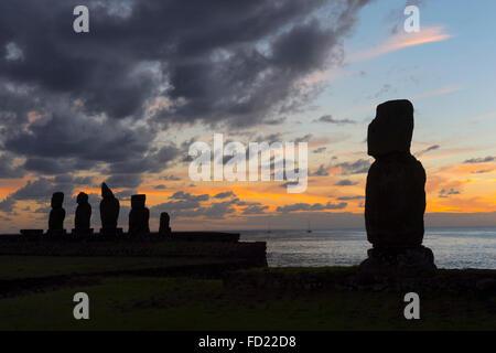 Tahai ceremonial complex at sunset, Hanga Roa, Rapa Nui National Park, Easter Island, Chile, Unesco World Heritage - Stock Photo