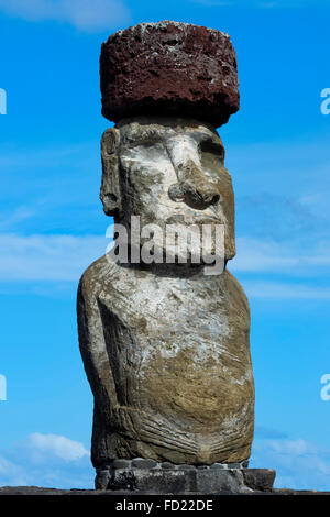 Moai, Ahu Tongariki, Rapa Nui National Park, Easter Island, Chile, Unesco World Heritage - Stock Photo