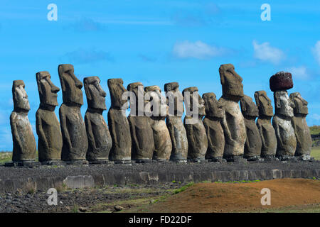 Moais at Ahu Tongariki, Rapa Nui National Park, Easter Island, Chile, Unesco World Heritage - Stock Photo