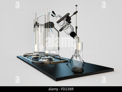 hooch still. device for cooking alcohol. moonshine of transparent flasks and retorts for distillation of liquids. - Stock Photo