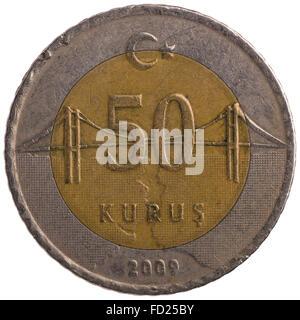 50 Turkish kurus coin, 2009, back, isolated on white background - Stock Photo