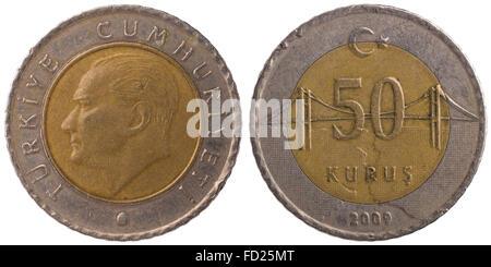 50 Turkish kurus coin isolated on white background - Stock Photo